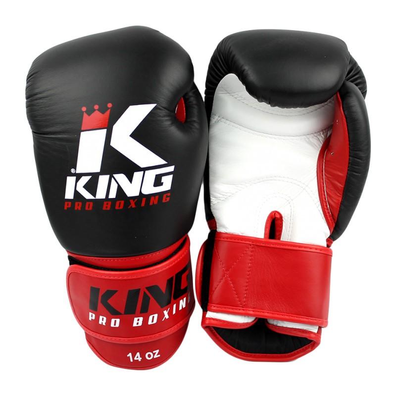 King Pro Boxing KPB BG 1 Boxhandschuhe Leder Schwarz Rot
