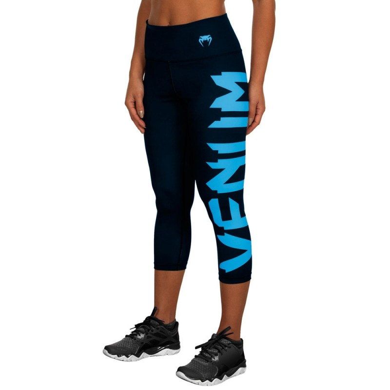 Venum Giant Leggings Crops Women Black Cyan