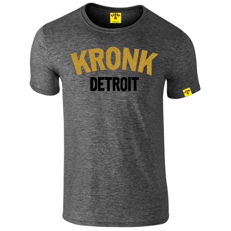 Kronk Two Colour Detroit Slim Fit T-Shirt Heather Charcoal