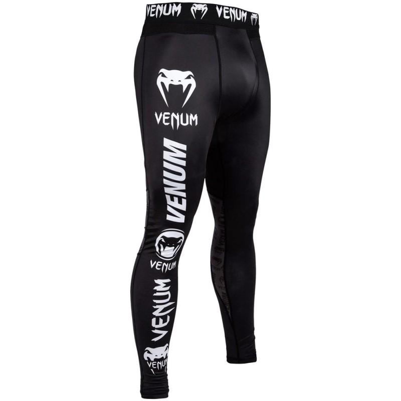 Venum Logos Spats Black White