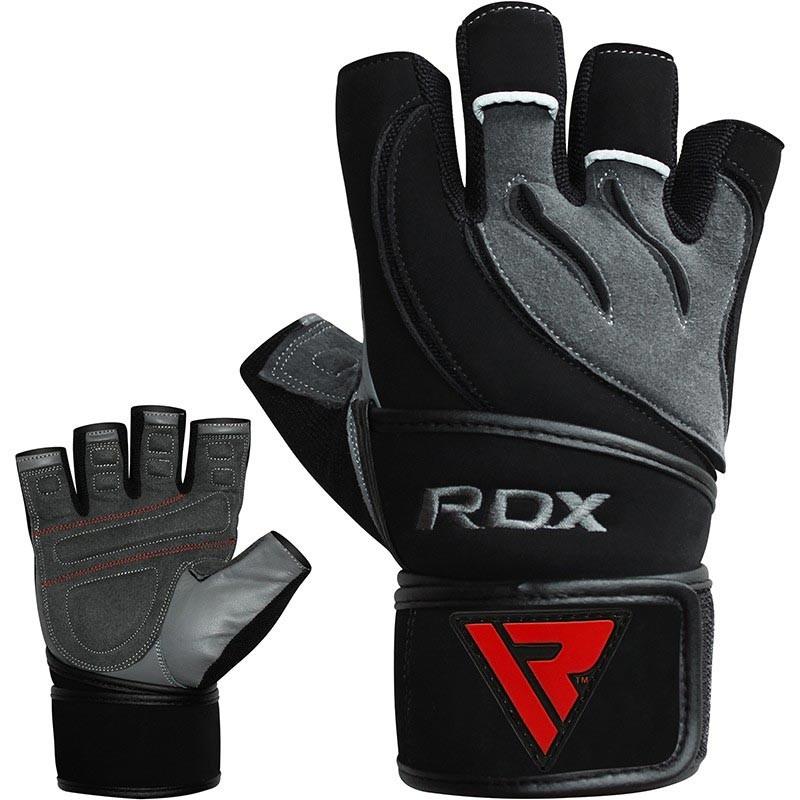 RDX Gym Handschuh Leder grau schwarz