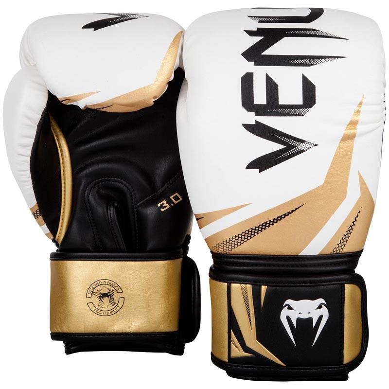 Venum Challenger 3.0 Boxing Gloves White Black Gold