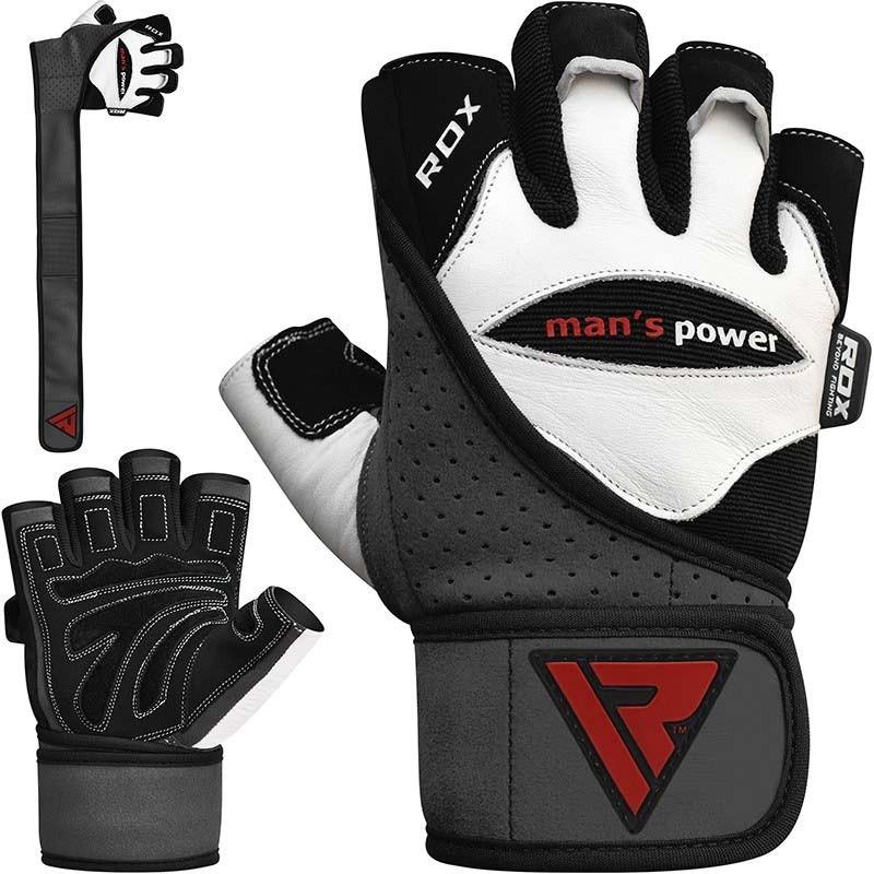 RDX Gym Handschuh Leder weiss schwarz