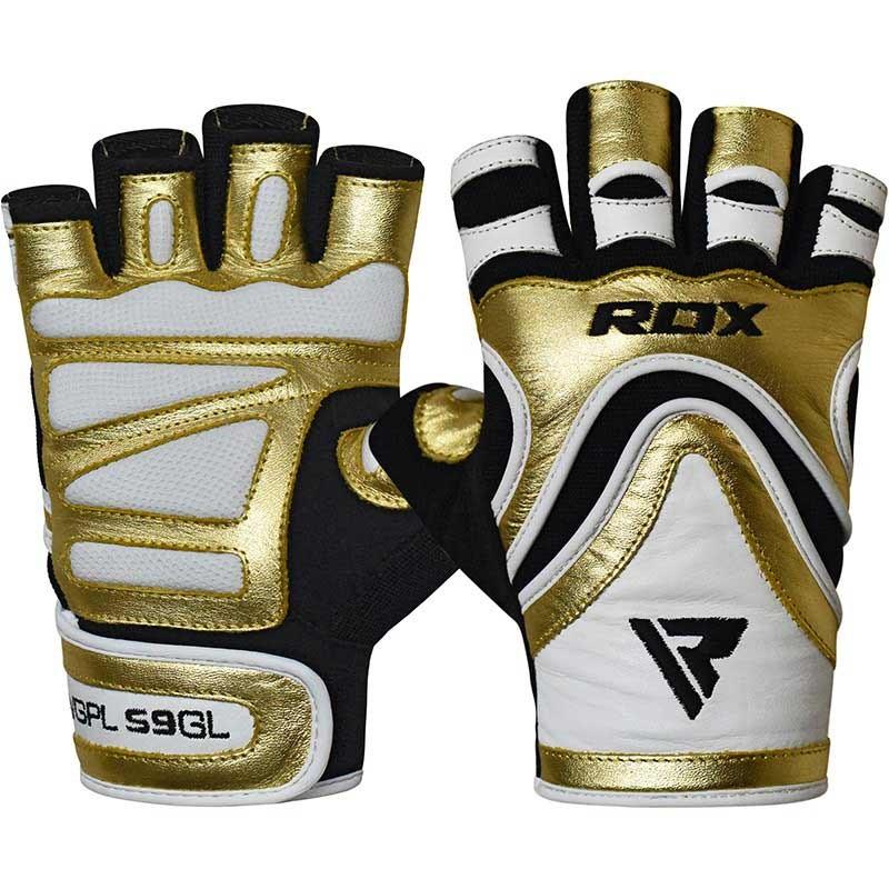 RDX Gym Handschuh Leather S9 golden
