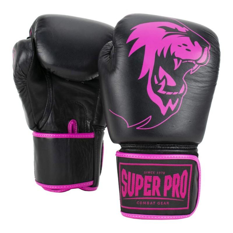 Super Pro Warrior Boxhandschuhe Schwarz Pink Leder Kids