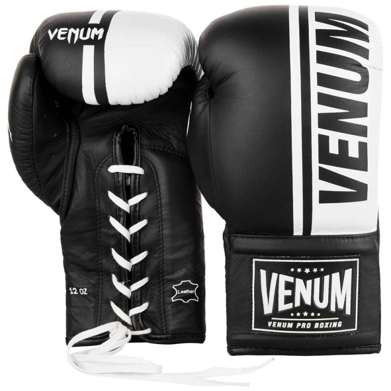Venum Shield Pro Boxing Gloves Laced Black White