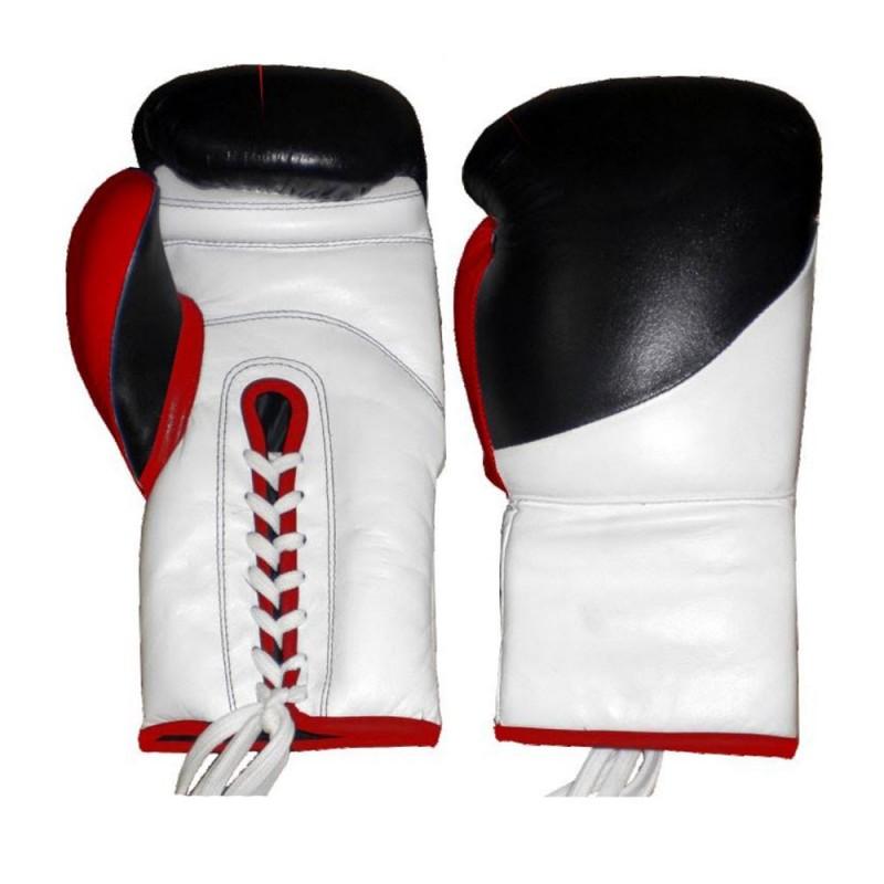 Lion Boxhandschuhe zum Schnüren Leder Schwarz Weiss Rot