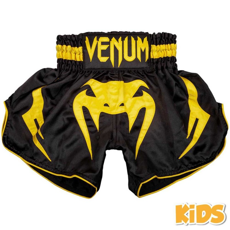 Venum Bangkok Inferno Kids Muay Thai Shorts Black Yellow