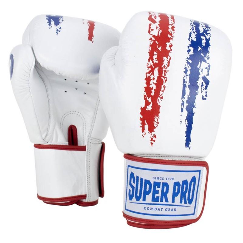 Super Pro Warrior Boxhandschuhe Rot Weiss Blau Leder Kids