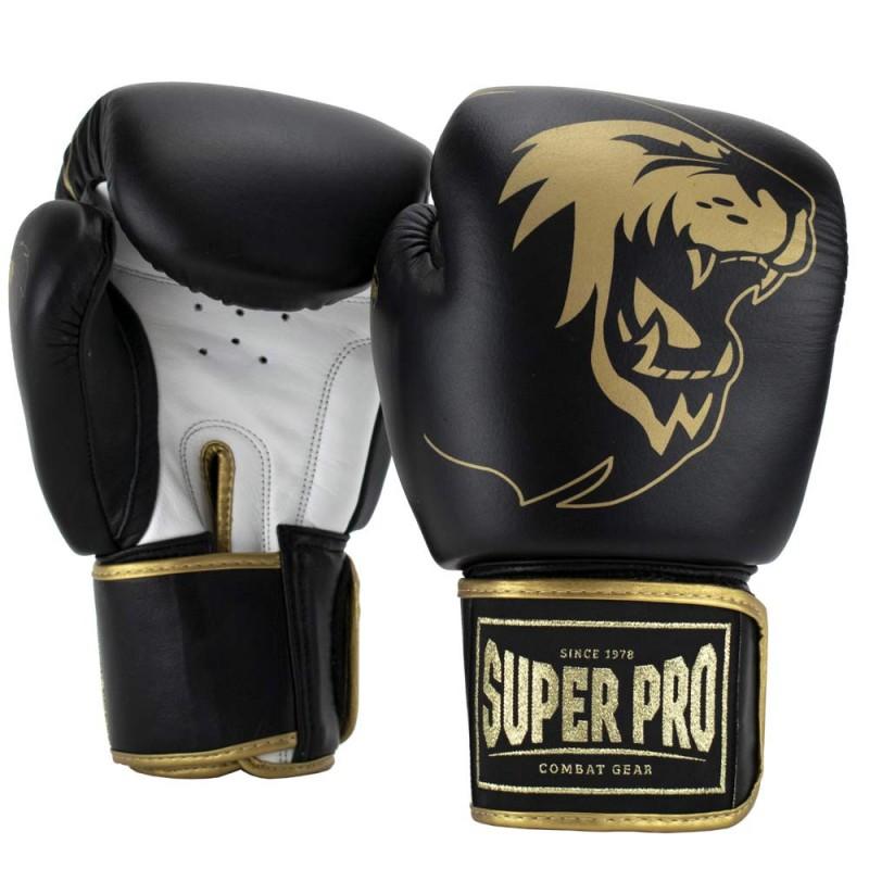 Super Pro Warrior SE Boxhandschuhe Leder Schwarz Gold Weiss