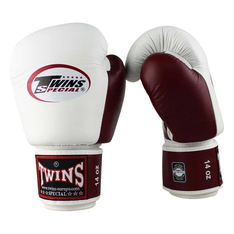 Twins BGVL 3 Boxing Gloves Leather White Wine Red