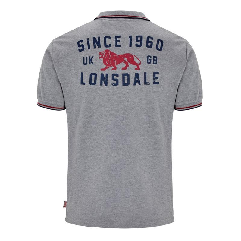 Lonsdale Burton Herren Poloshirt Marl Grey