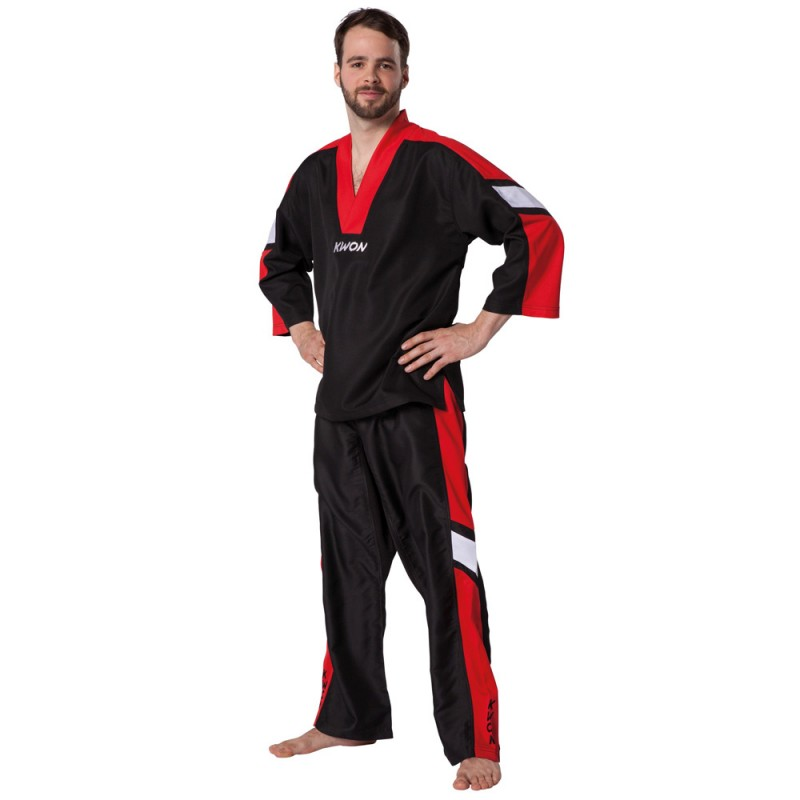 kwon compete kickboxing anzug schwarz rot g nstig kaufen boxhaus. Black Bedroom Furniture Sets. Home Design Ideas