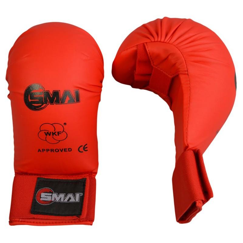 Abverkauf SMAI WKF Karate Handschutz ohne Daumen Rot