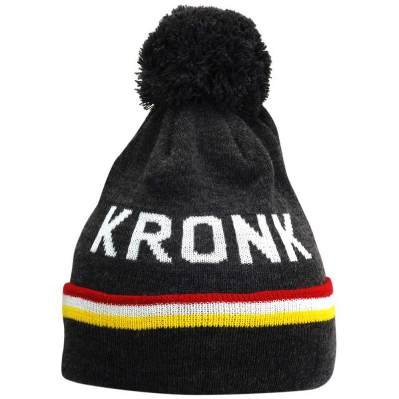 Kronk Detroit 3 Stripe Bobble Hat Charcoal