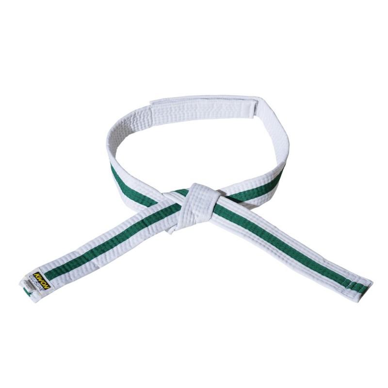 Kwon Clubline Klett Gürtel für Kinder weiss grün weiss