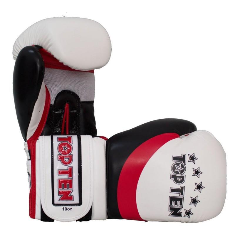 Top Ten Stripe Boxhandschuhe Weiss Rot Schwarz