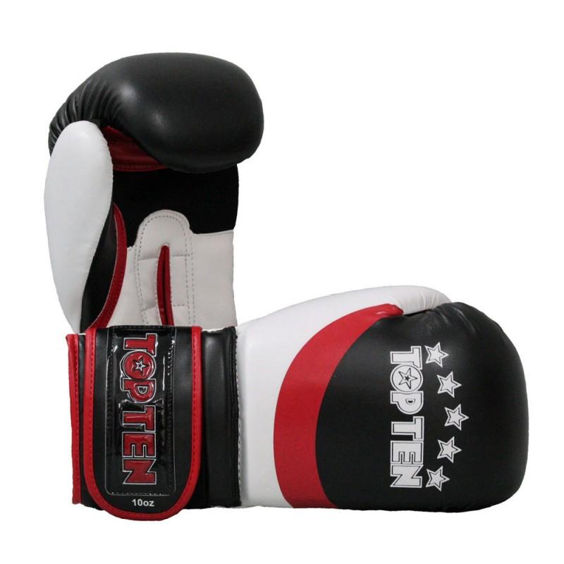 Top Ten Stripe Boxhandschuhe Schwarz Rot Weiss