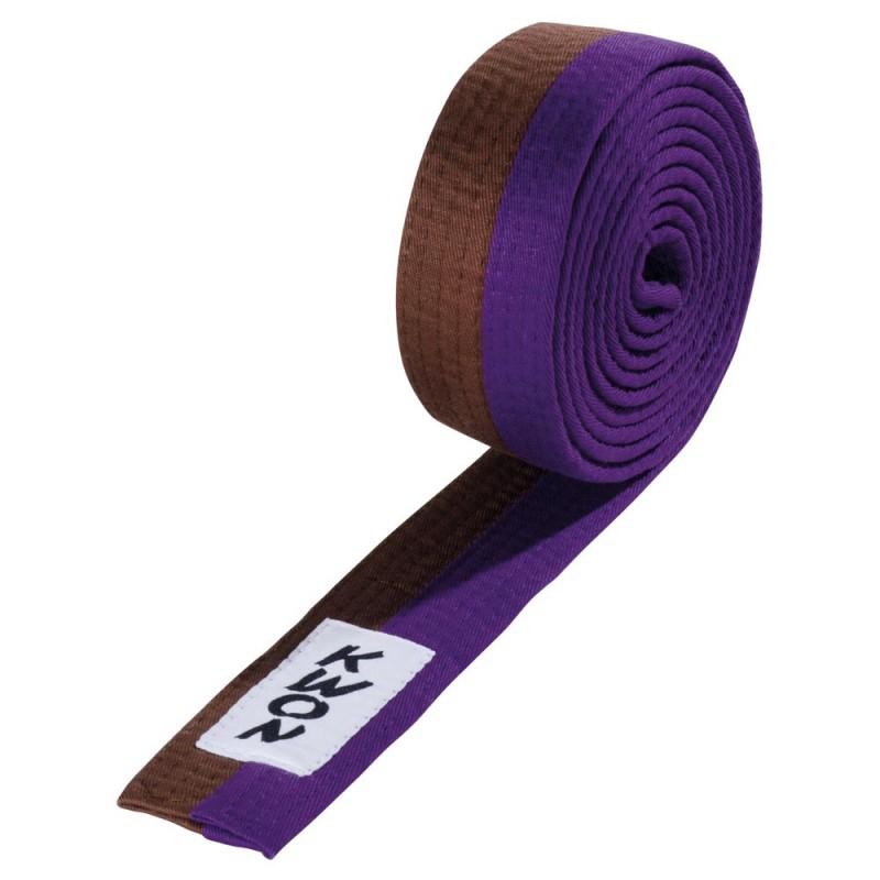 Kwon Budogürtel 4cm braun violett