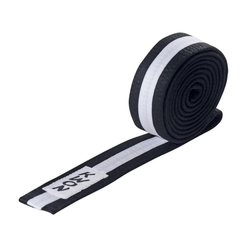 Kwon Budogürtel 4cm schwarz weiss schwarz