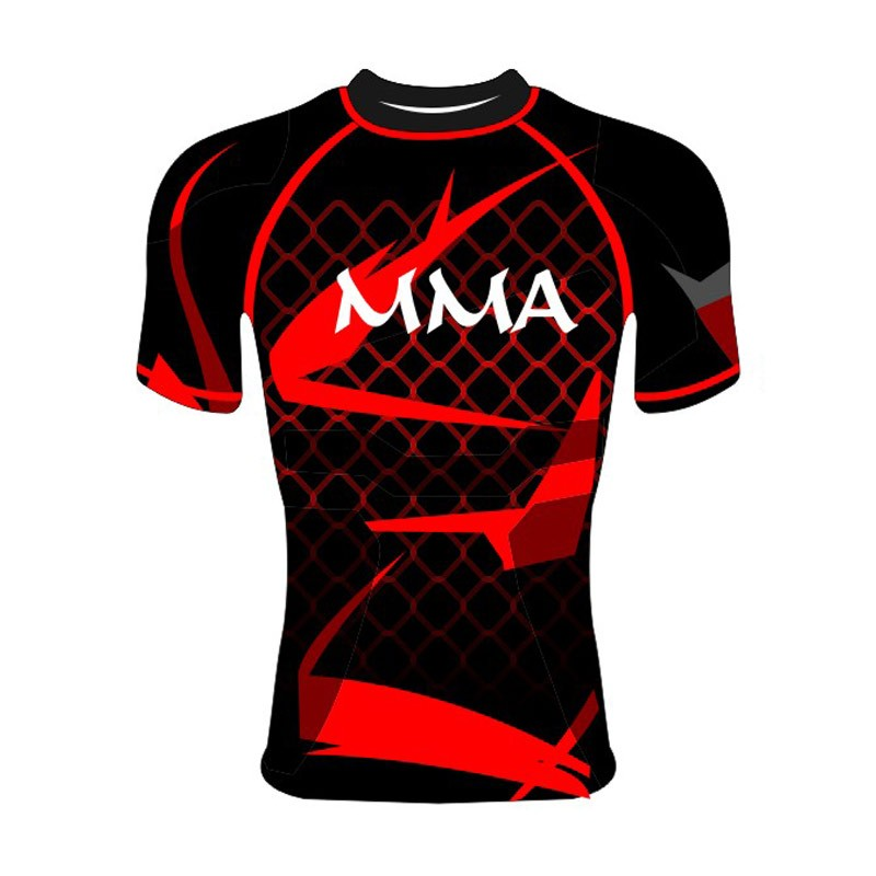 Rashguard MMA SS Schwarz Rot