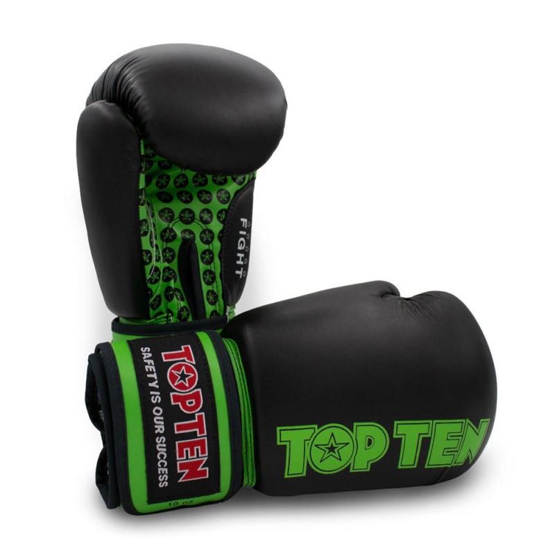Top Ten Fight Boxhandschuhe Schwarz Grün 10oz