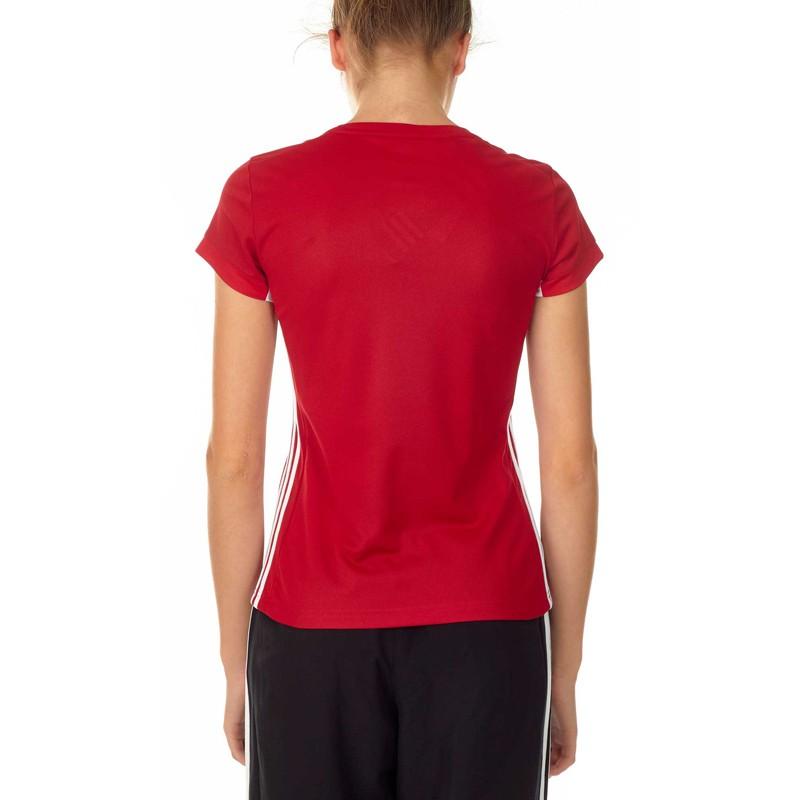 Abverkauf Adidas T16 Team T Shirt Damen Power Rot Weiss