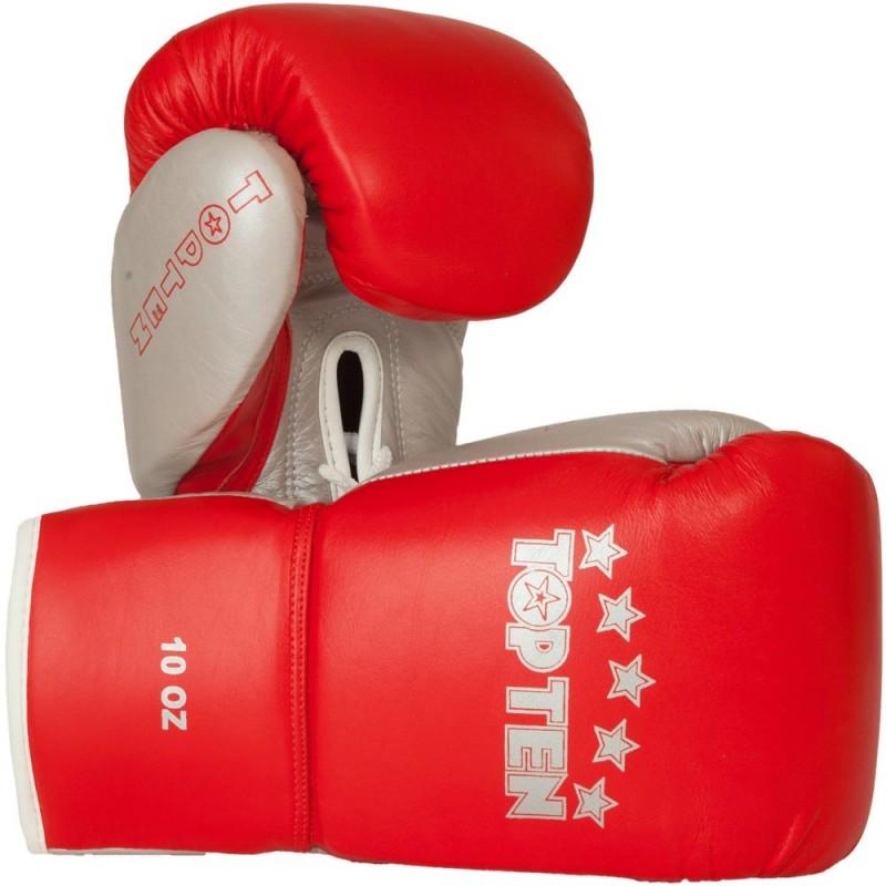 Top Ten Profi Boxhandschuhe Rot Silber