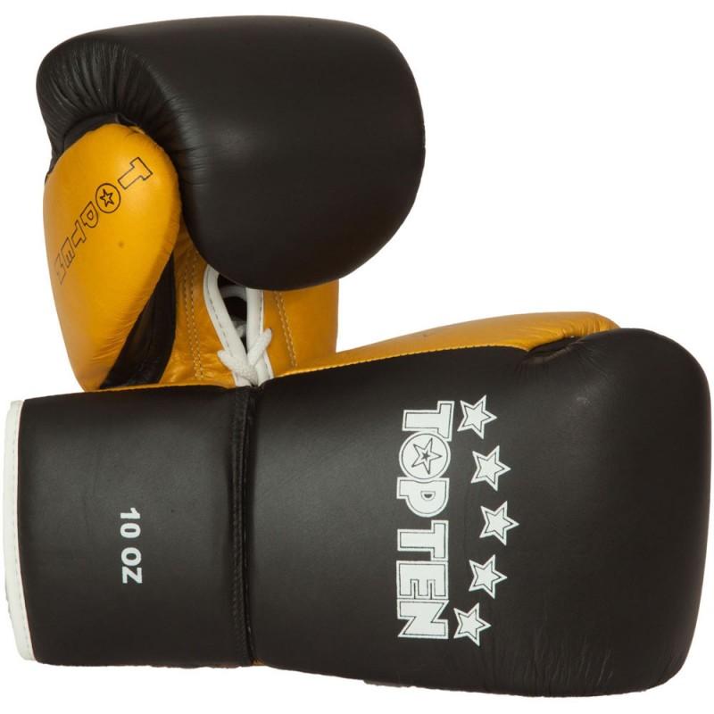Top Ten Profi Boxhandschuhe Schwarz Gold