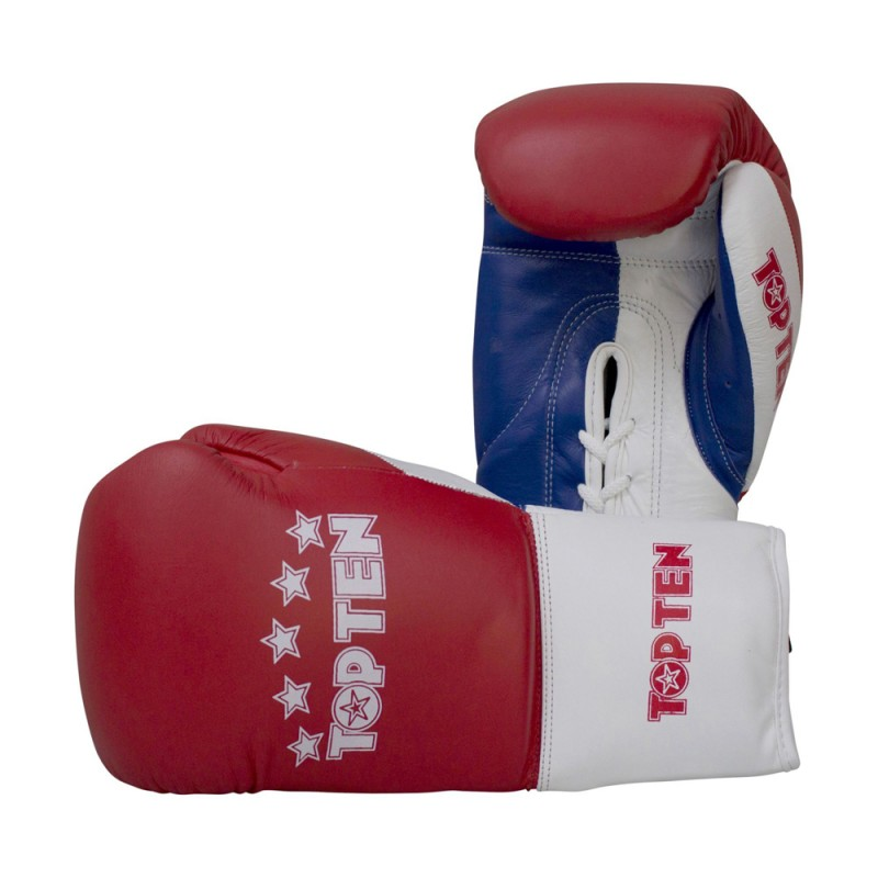 Top Ten Profi Tricolor Boxhandschuhe Rot Blau