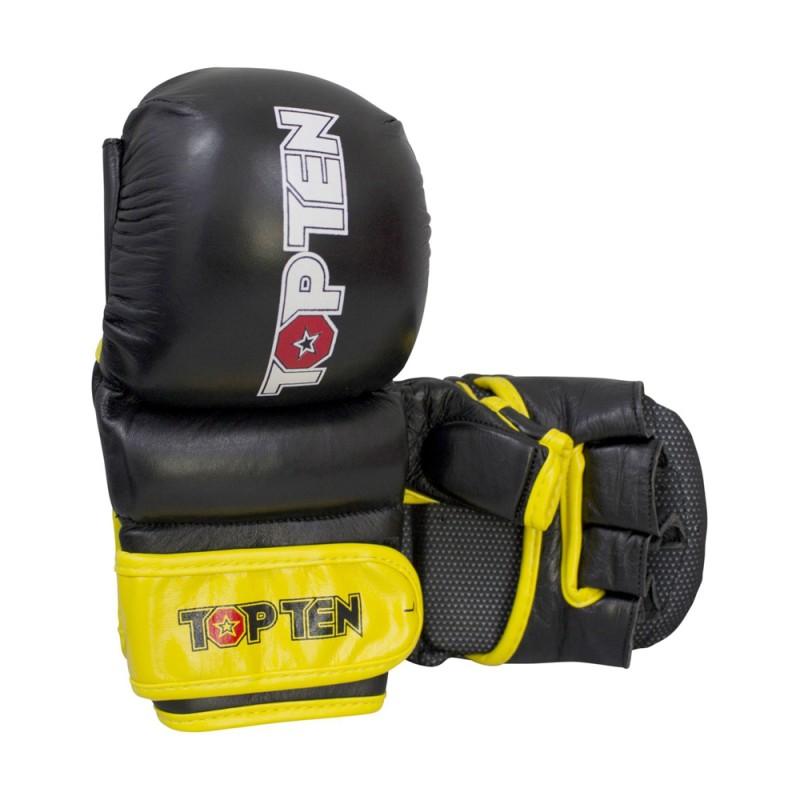 Top Ten MMA Thumb Guard Grappling Handschuhe Schwarz Gelb