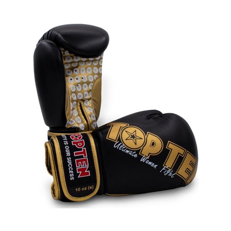 Top Ten Woman Boxhandschuhe Schwarz Gold