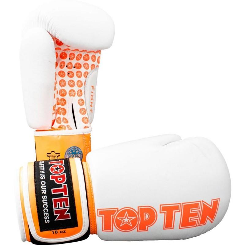 Top Ten Fight Boxhandschuhe Weiss Orange 10oz