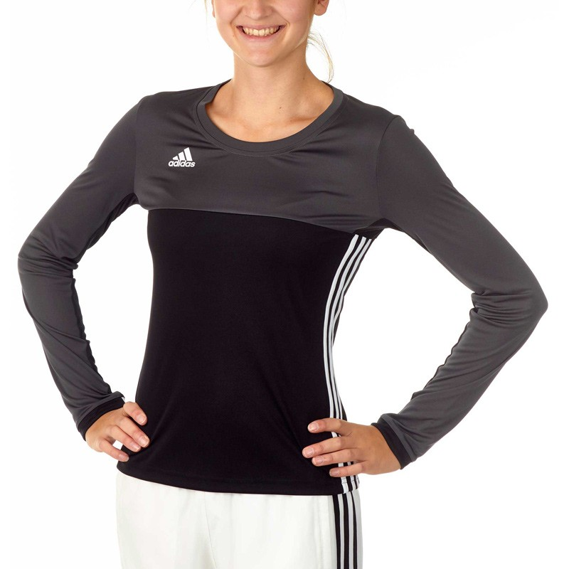 heißer verkauf Adidas T16 Climacool LS T Shirt Damen Schwarz Grau AJ5485  großer Rabatt