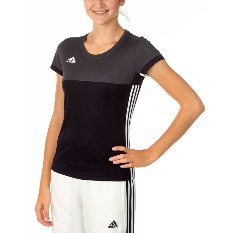 adidas t16 climacool t shirt damen schwarz grau aj5439. Black Bedroom Furniture Sets. Home Design Ideas