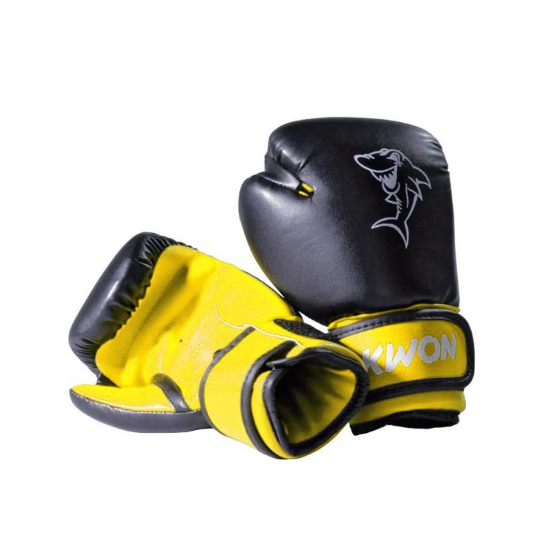 kwon mini shark 4oz boxhandschuhe schwarz gelb g nstig. Black Bedroom Furniture Sets. Home Design Ideas