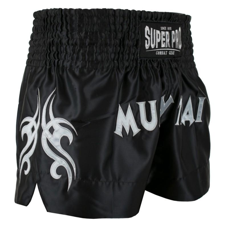 Super Pro Fighter Thaiboxing Short Schwarz Silber
