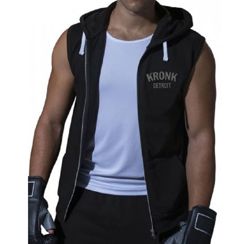 Kronk Gilet Zip Hoodie SL Black Charcoal
