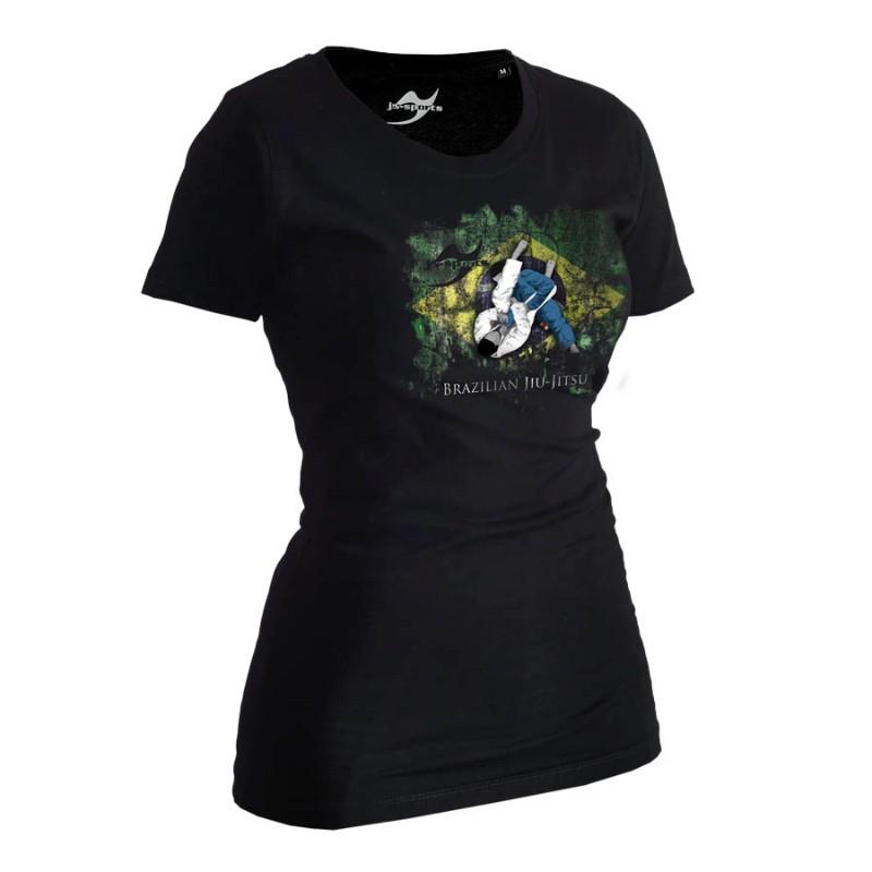 Ju- Sports BJJ Shirt Ground Warrior Schwarz Lady