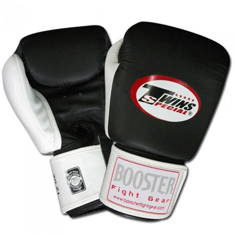Twins BG-5 Boxhandschuhe langer Klettverschluss Leder  schwarz-weiß