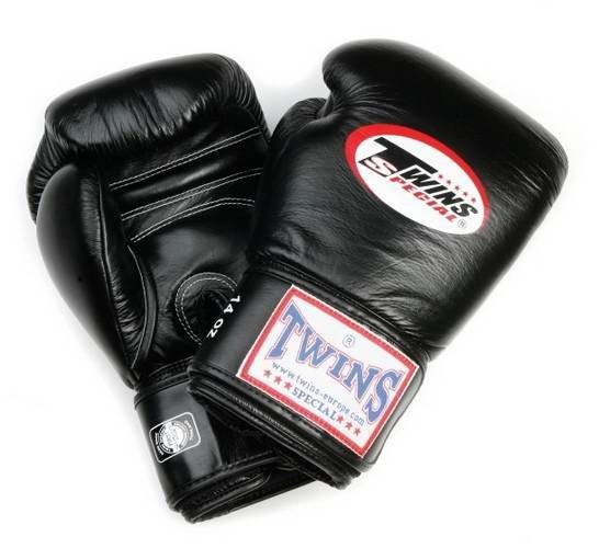 Twins BG-N Boxhandschuhe langer Klettverschluss Leder schwarz