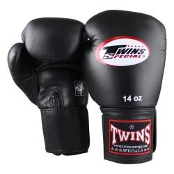 Twins BGVF Boxhandschuhe kurzer Klettverschluss Leder schwarz