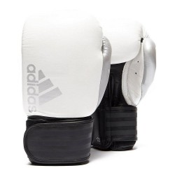 Abverkauf Adidas Hybrid 200 Boxhandschuhe Weiss Schwarz Silber