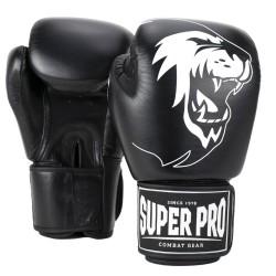 Super Pro Warrior Boxhandschuhe Schwarz Weiss Leder Kids