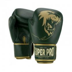 Super Pro Warrior SE Boxhandschuhe Leder Grün Gold