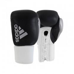 Adidas Hybrid 400 Pro Laces Boxhandschuhe Black White Silver