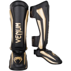 Venum Elite Standup Shinguards Black Gold