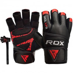 RDX Gym Handschuh Leder rot schwarz