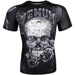 Abverkauf Venum Santa Muerte 3.0 Rashguard SS Black White XL