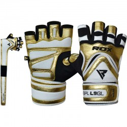 RDX Gym Handschuh Leather L9 golden